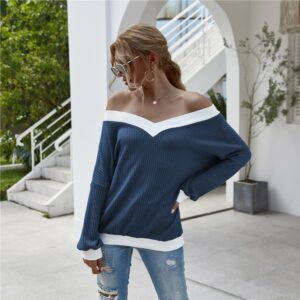 Off Shoulder Knitted Sweater Women 2020 Autumn Winter V-neck Long Sleeve Loose Pullover Female Fashion Casual Vintage Knitwear