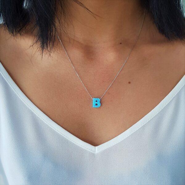 B Letter Blue Opal