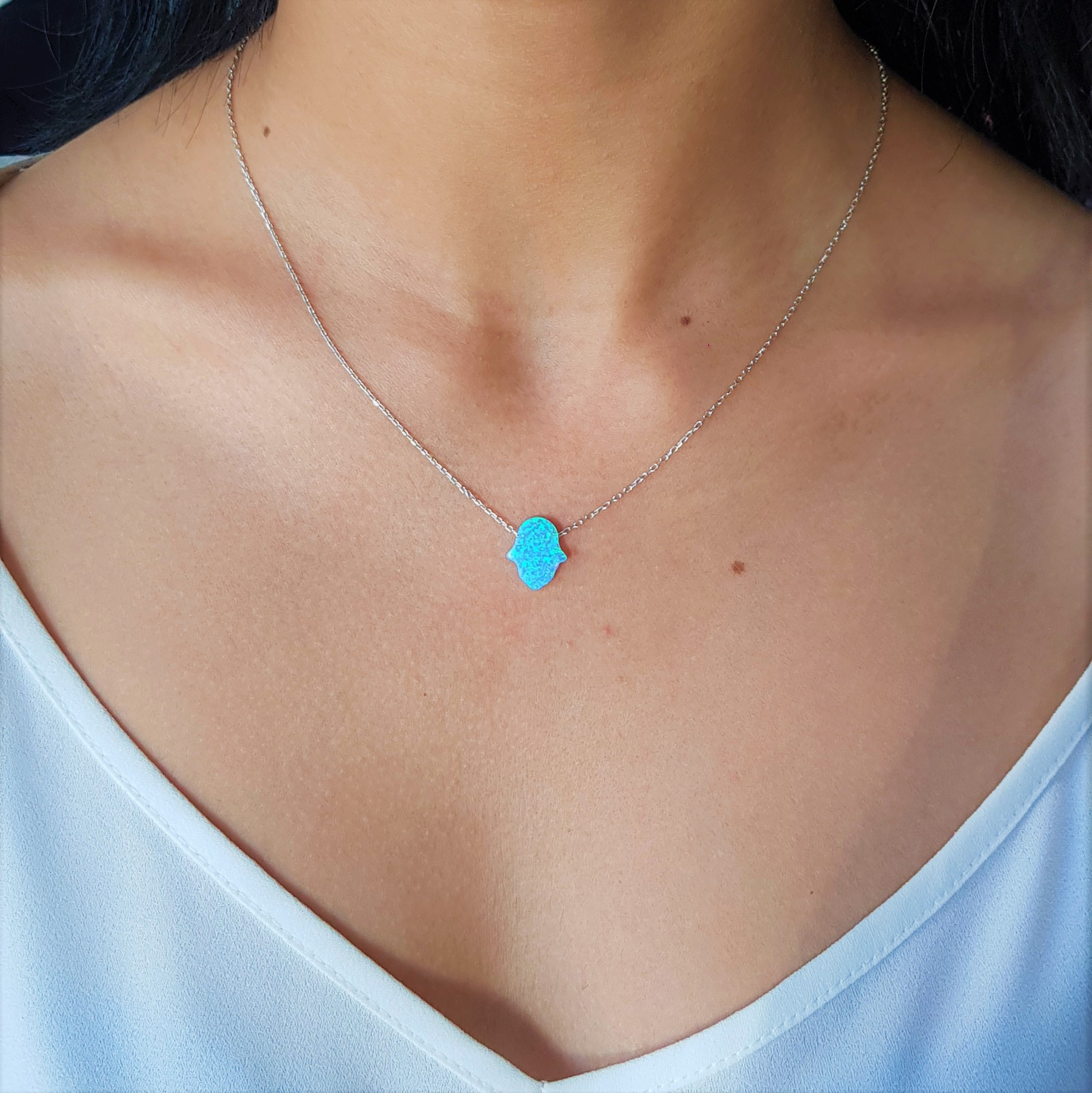 Blue Medium Opal Hamsa Silver Chain
