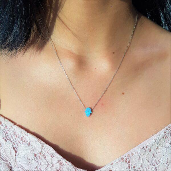 Blue Opal Hamsa Silver chain (small)
