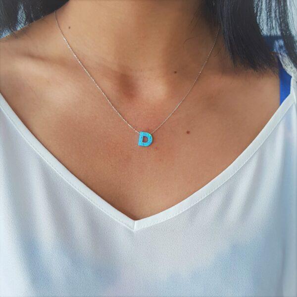 D Letter Blue Opal
