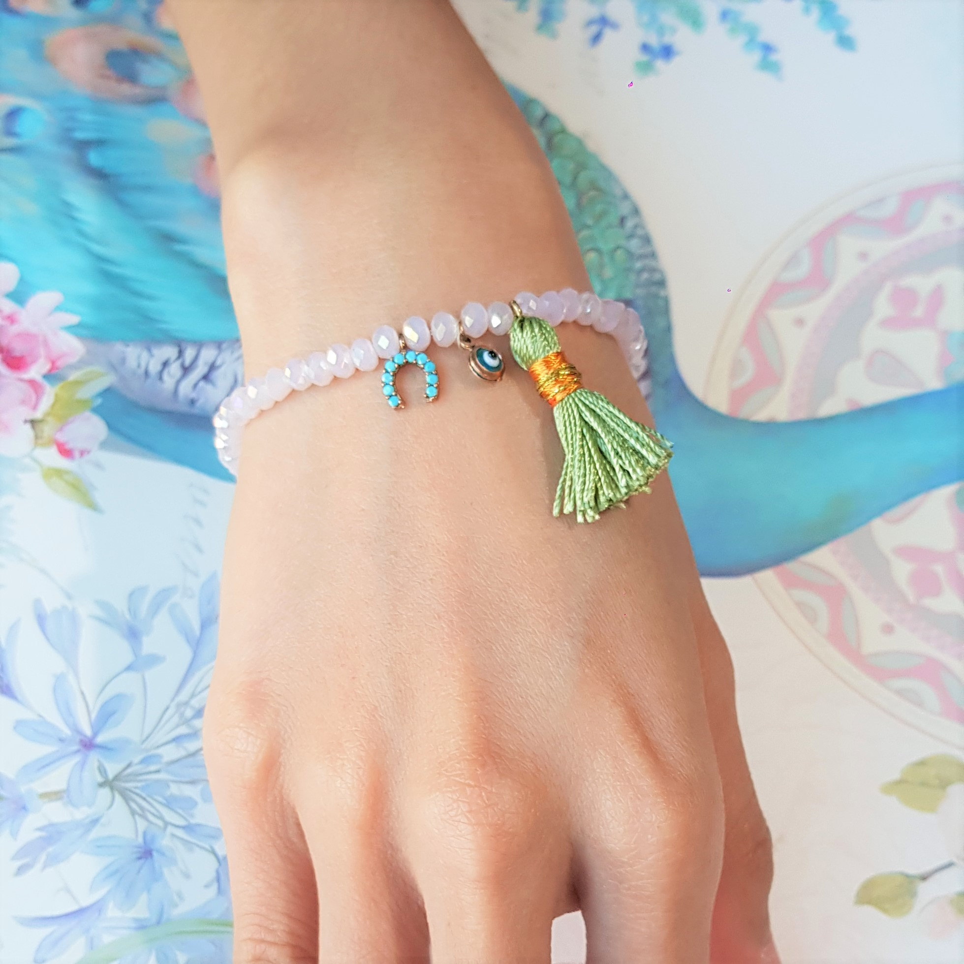 Fish Evil Eye Green Tassel Pink Bead Bracelt