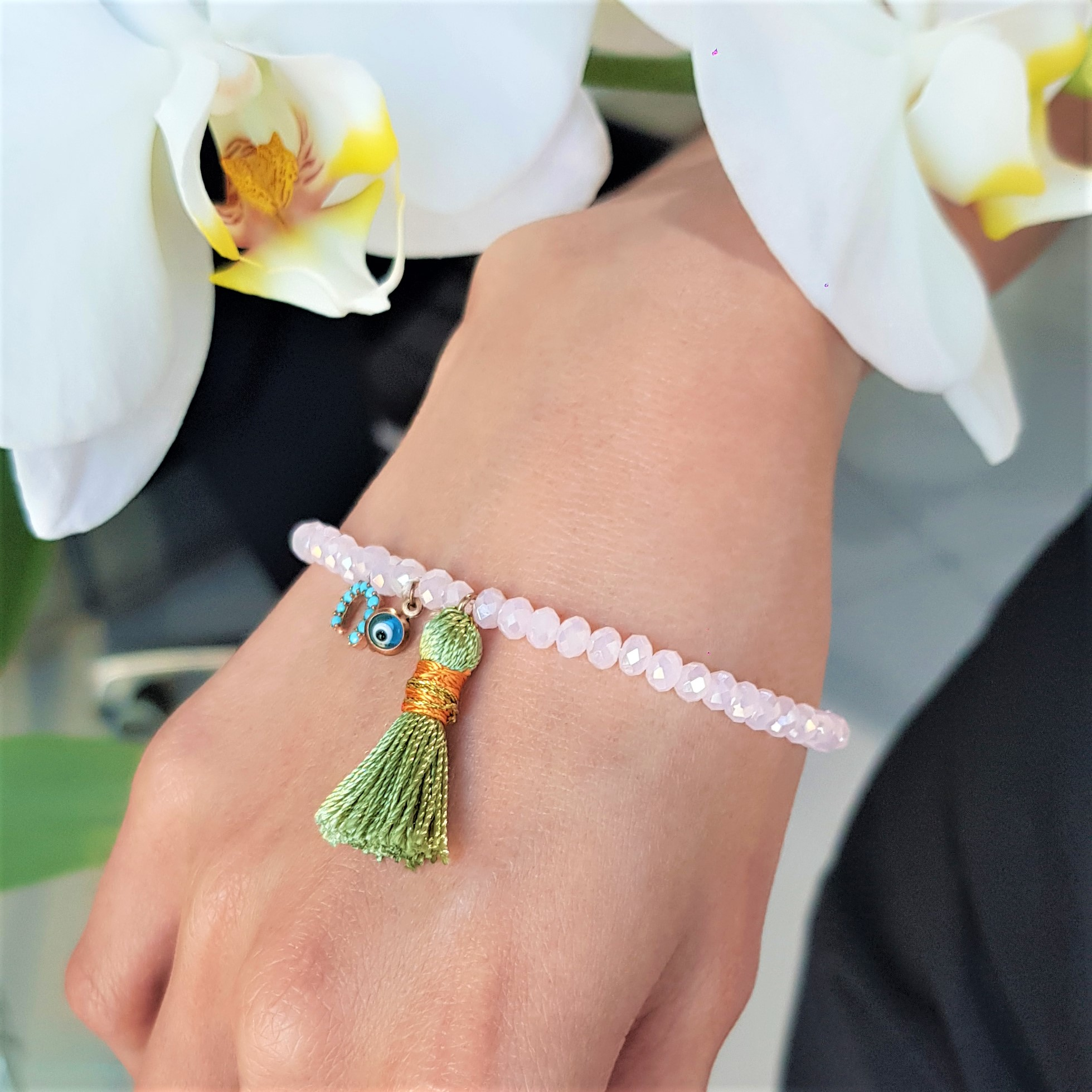 Fish Evil Eye Green Tassel Pink Bead Bracelt V3