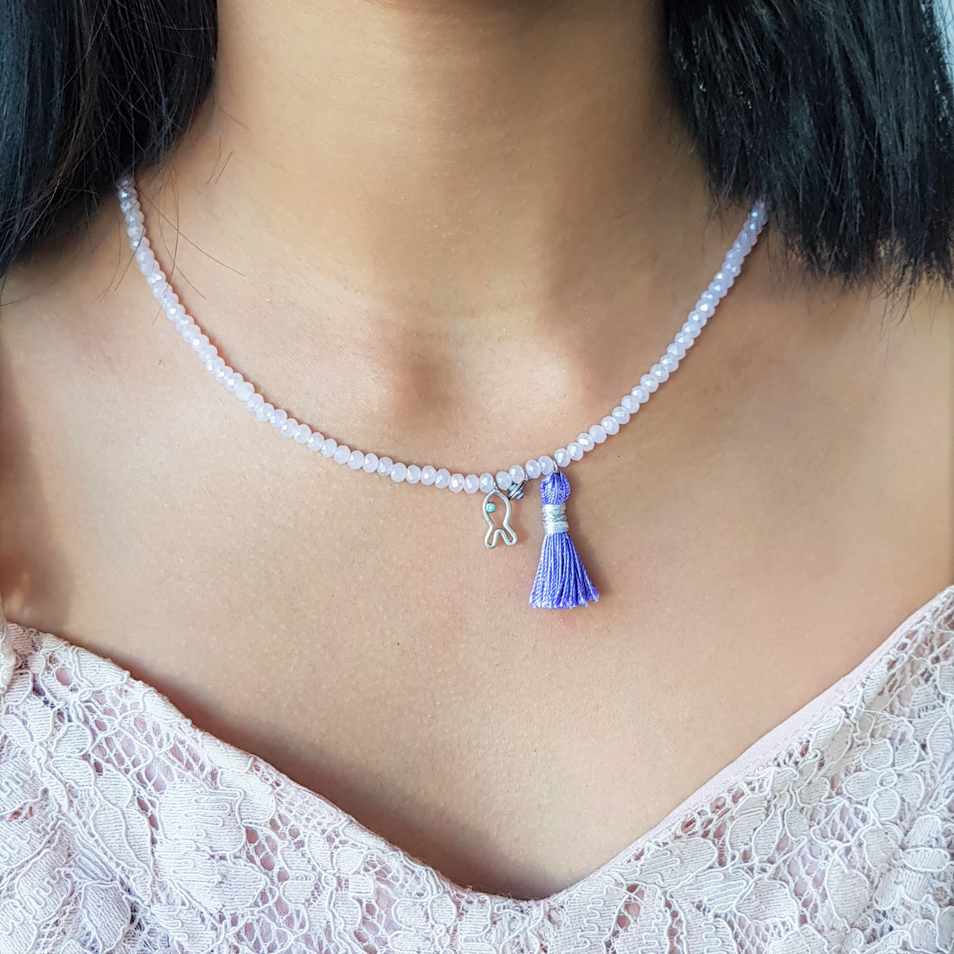 Fish Purple Tassel Pink Bead necklace