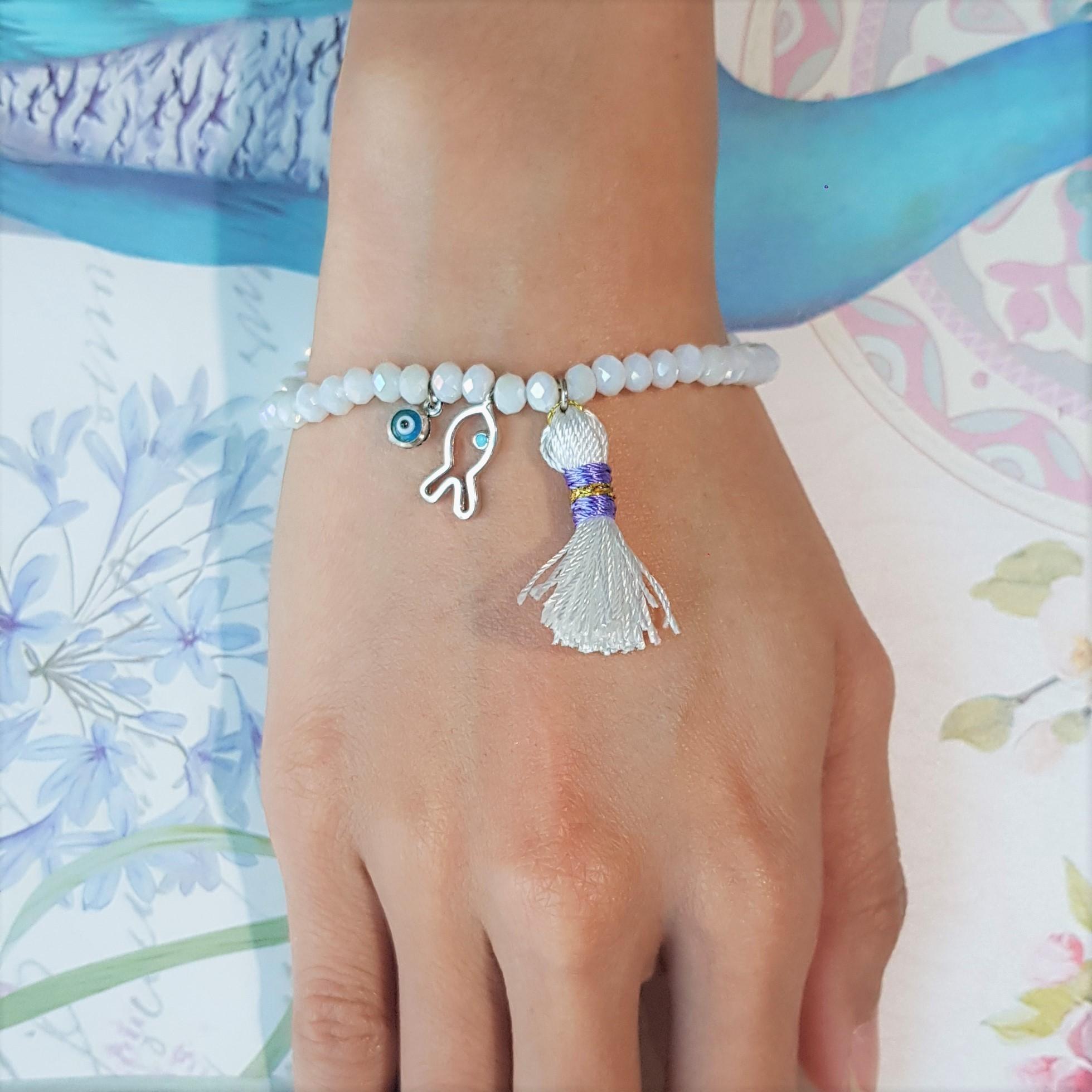 Fish Tassel Evil Eye White Bead Bracelet