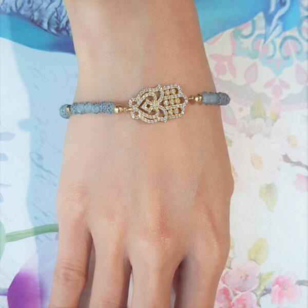 Grey Bead Hamsa Crystal Bracelet