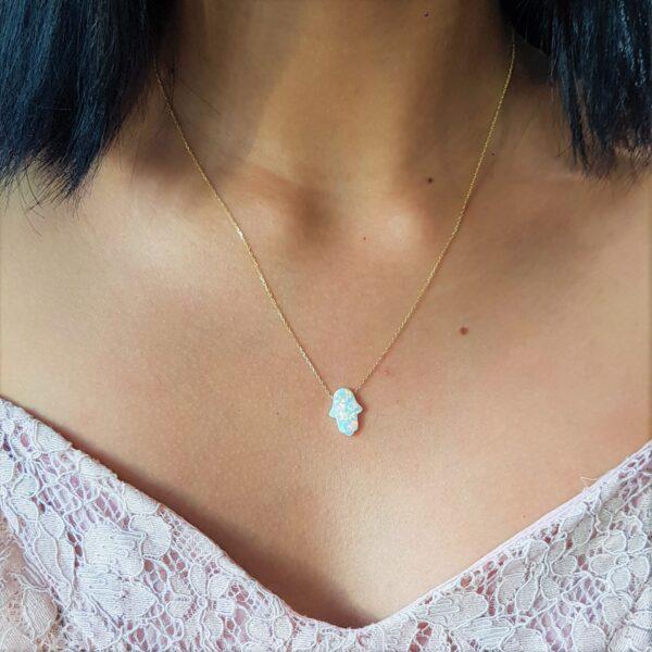 White Opal Gold Chain (Medium)