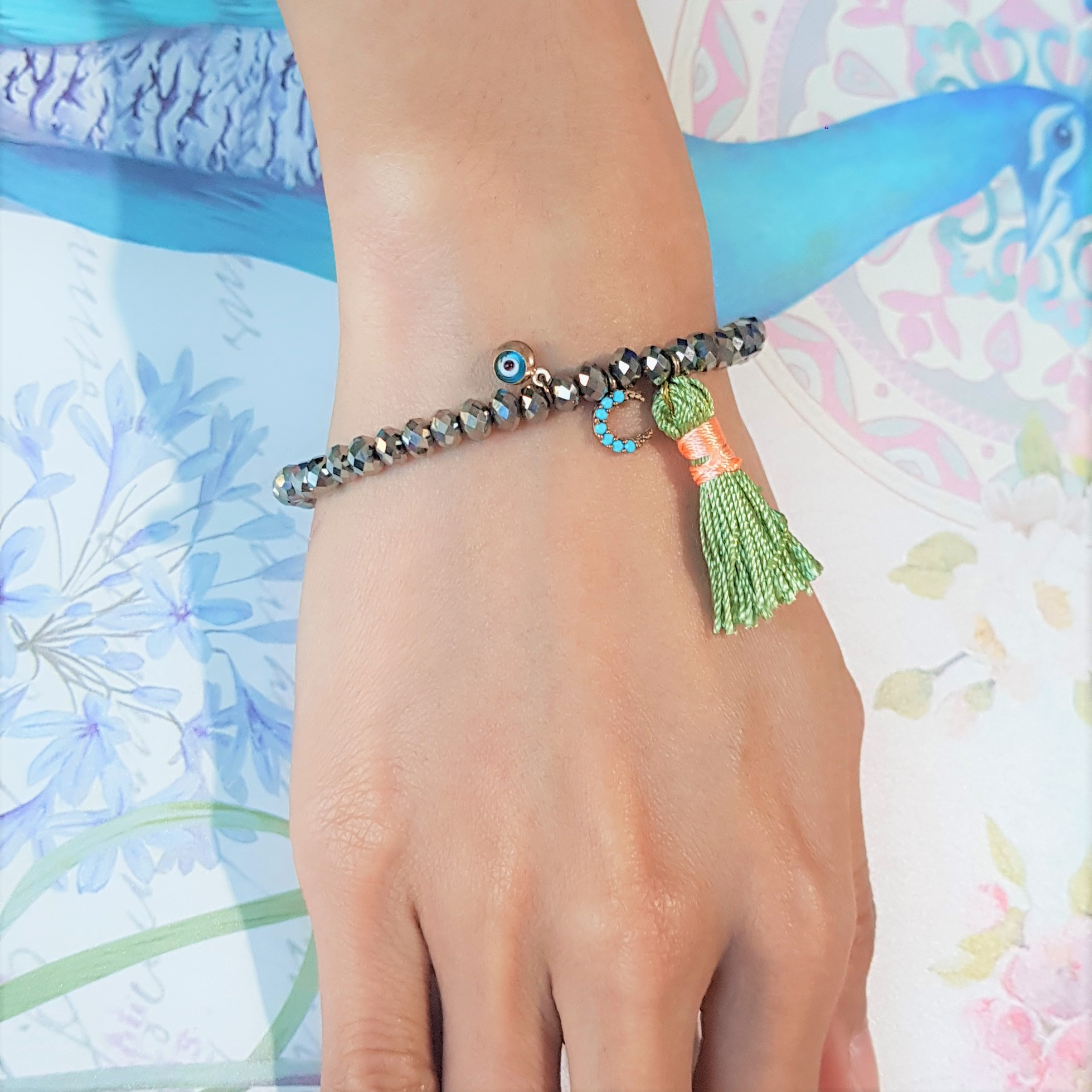 evil eye green tassel bracelet