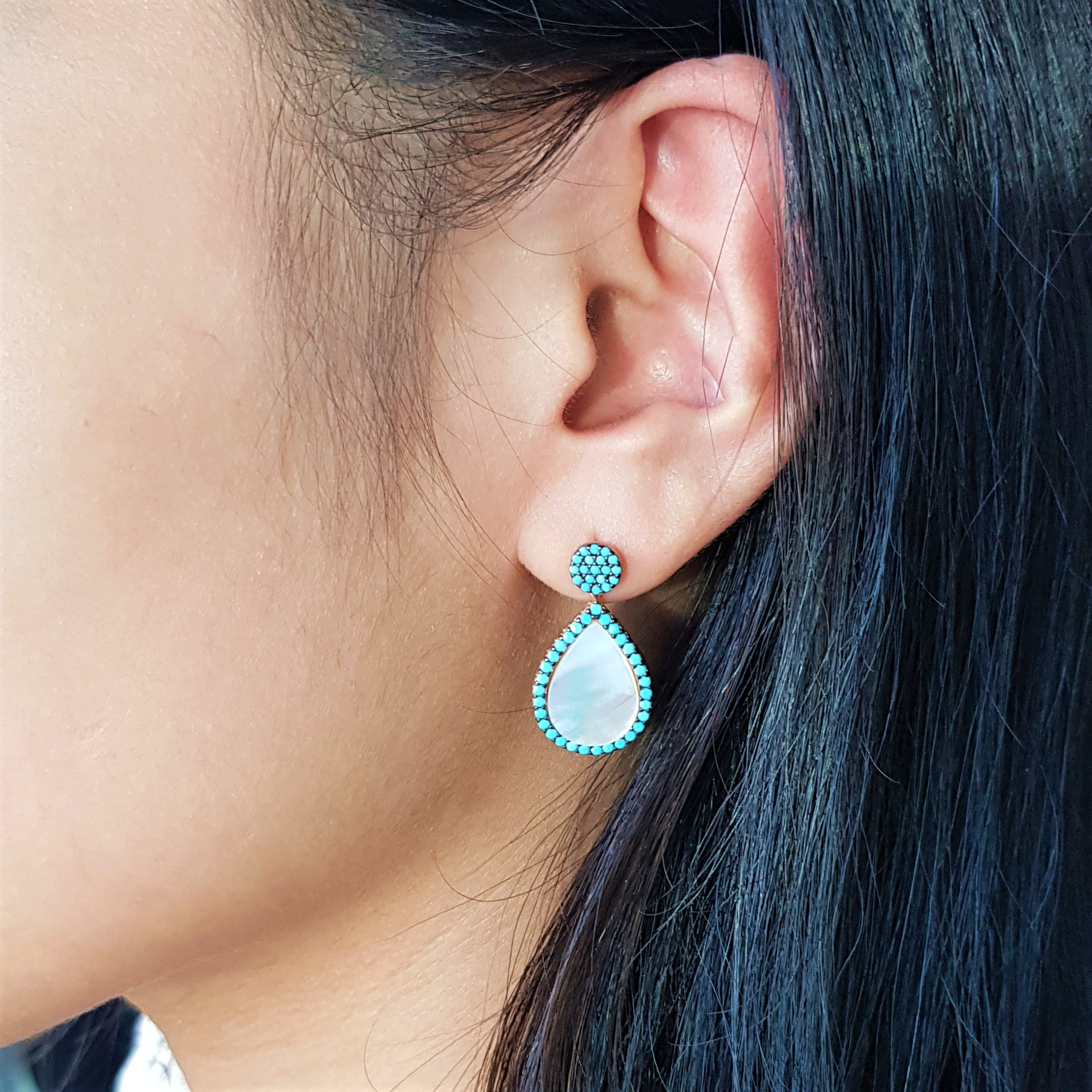 Blue Bead Pearl Reat Drop earring