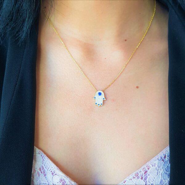 Crystal Hamsa Blue Stud