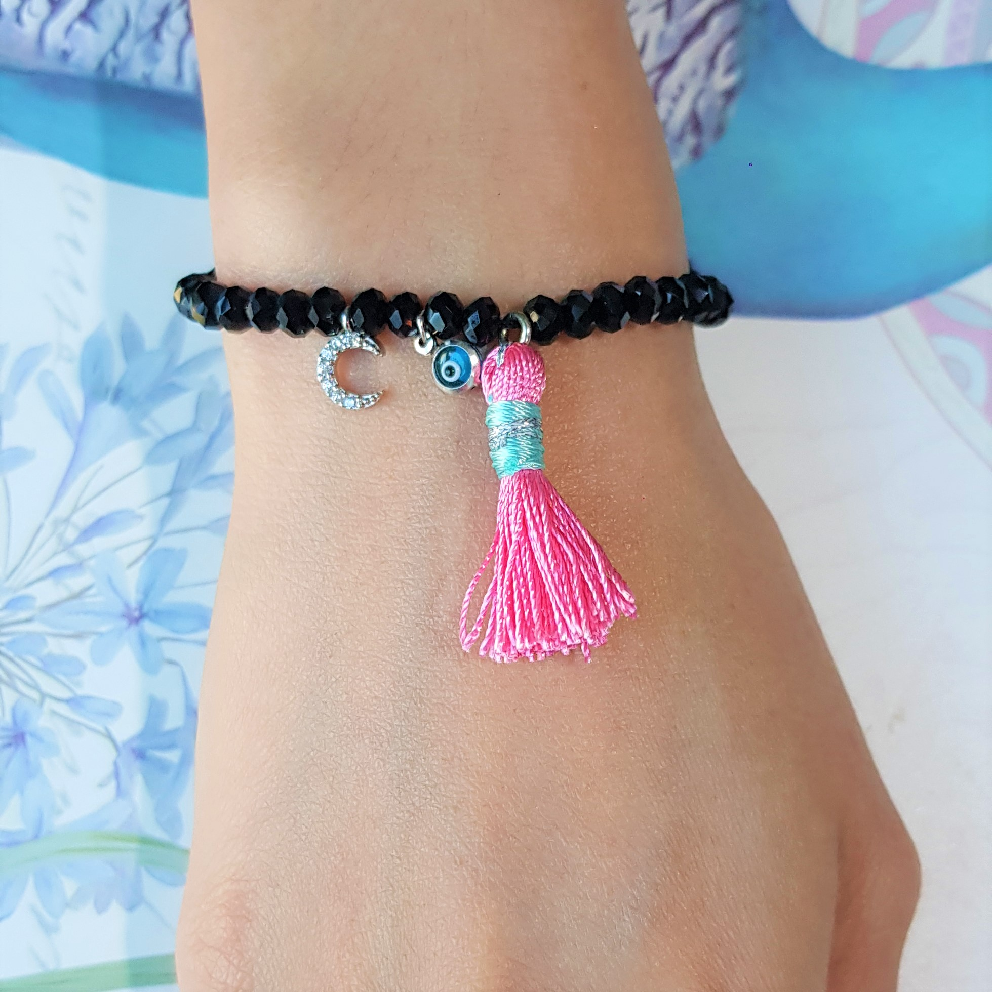 Evil Eye Tassel Black bead bracelet