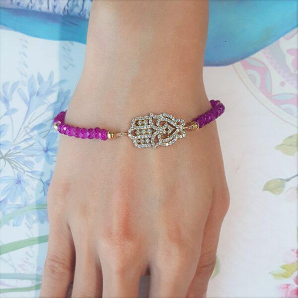 Fuscia Bead Hamsa Bracelet