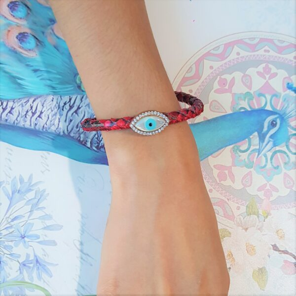 Leather Snake Skin Evil Eye Bracelet