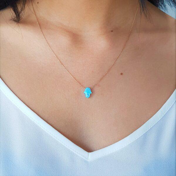 Small Blue Opal Gold Chain