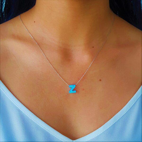 Z Letter Blue Opal