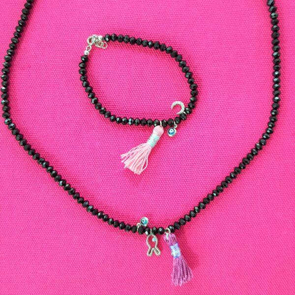 black bead tassel & charm set