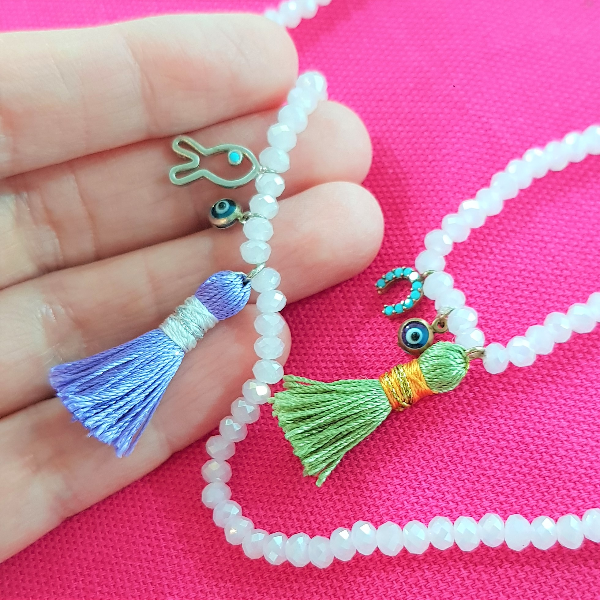 close up pink bead charm bracelet