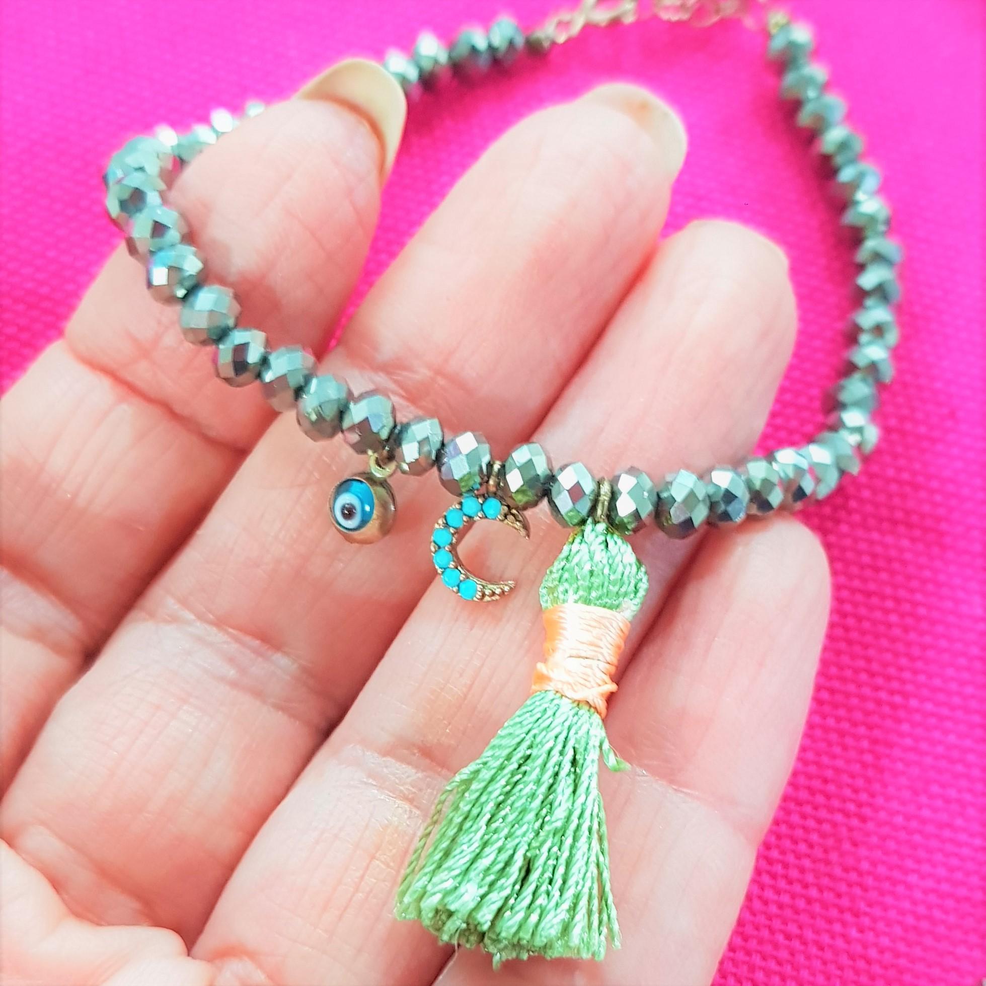 close up silver bead bracelet