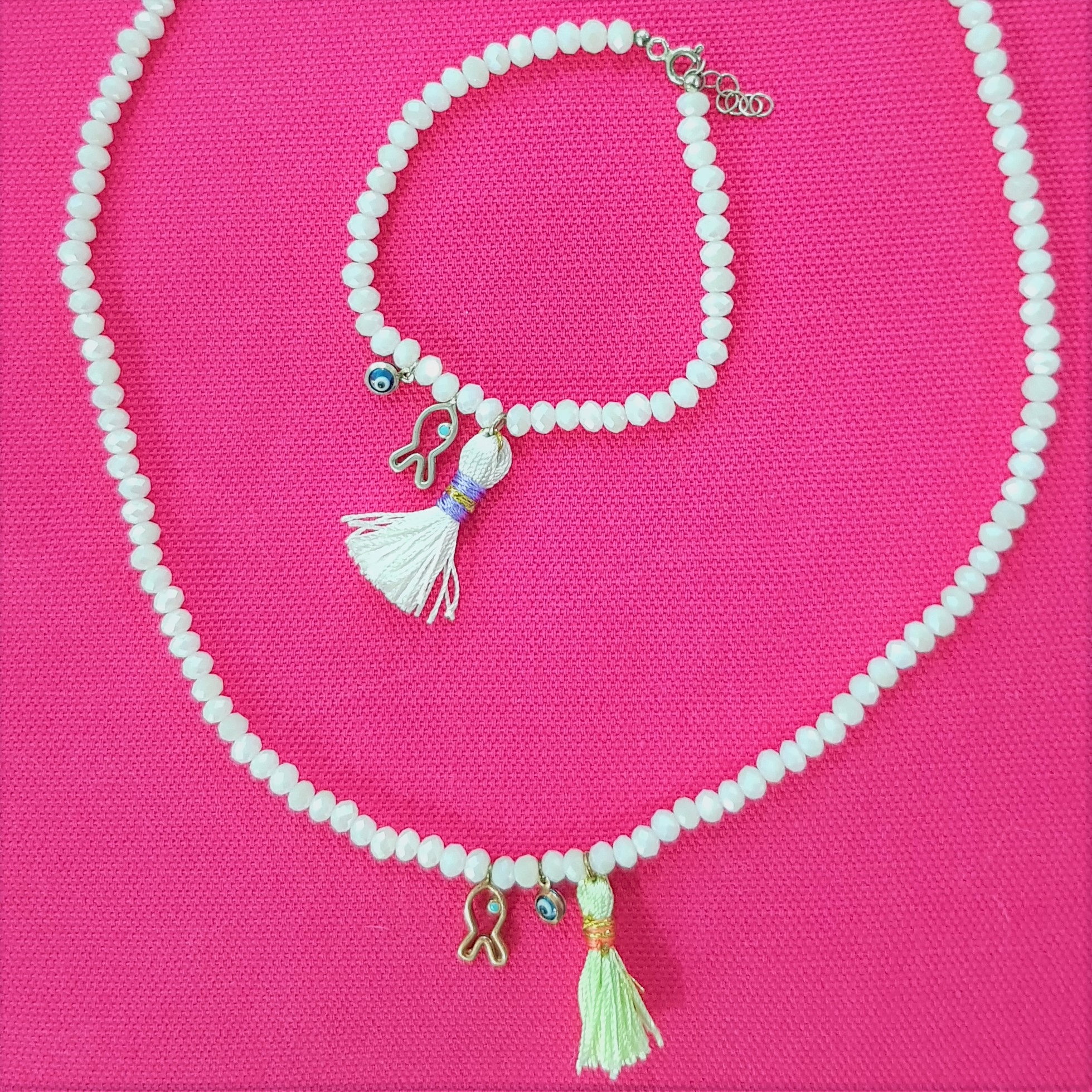 white bead tassel & charm set